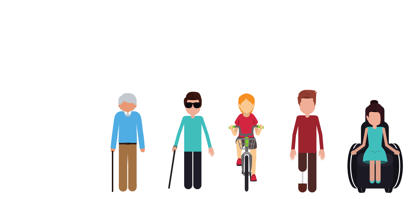 Illustration of 5 pedestrians: old man, visually impaired man, cyclist, man with amputated leg, women in wheelchair