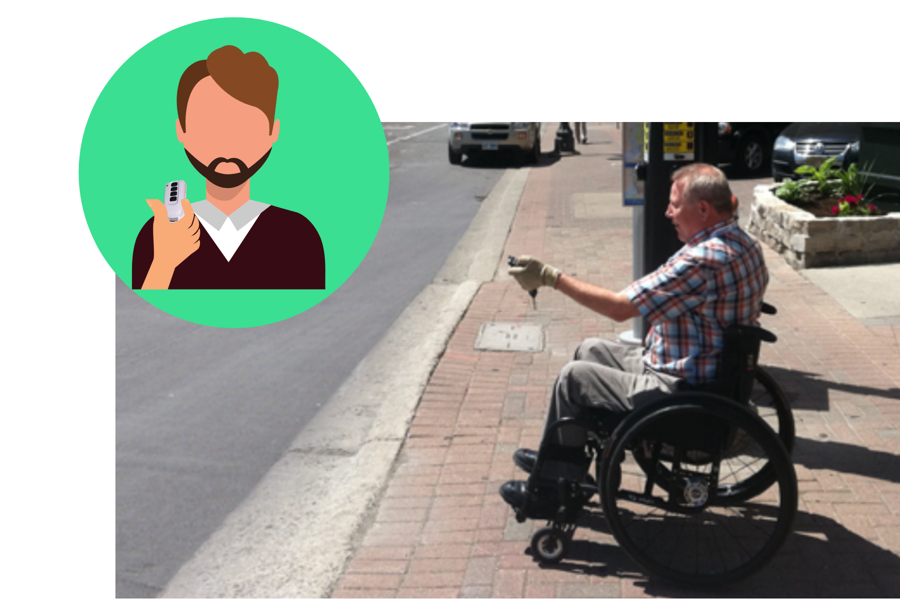 Man in wheelchair holding key2access fob