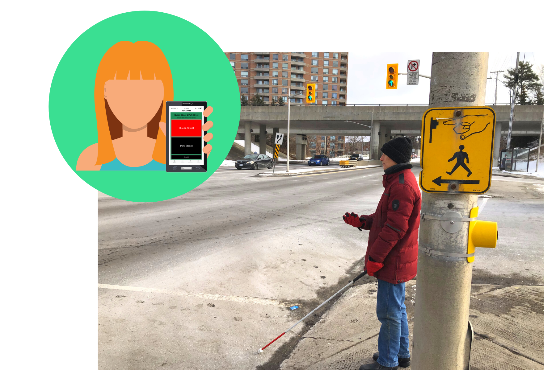 Blind man at intersection holding smartphone
