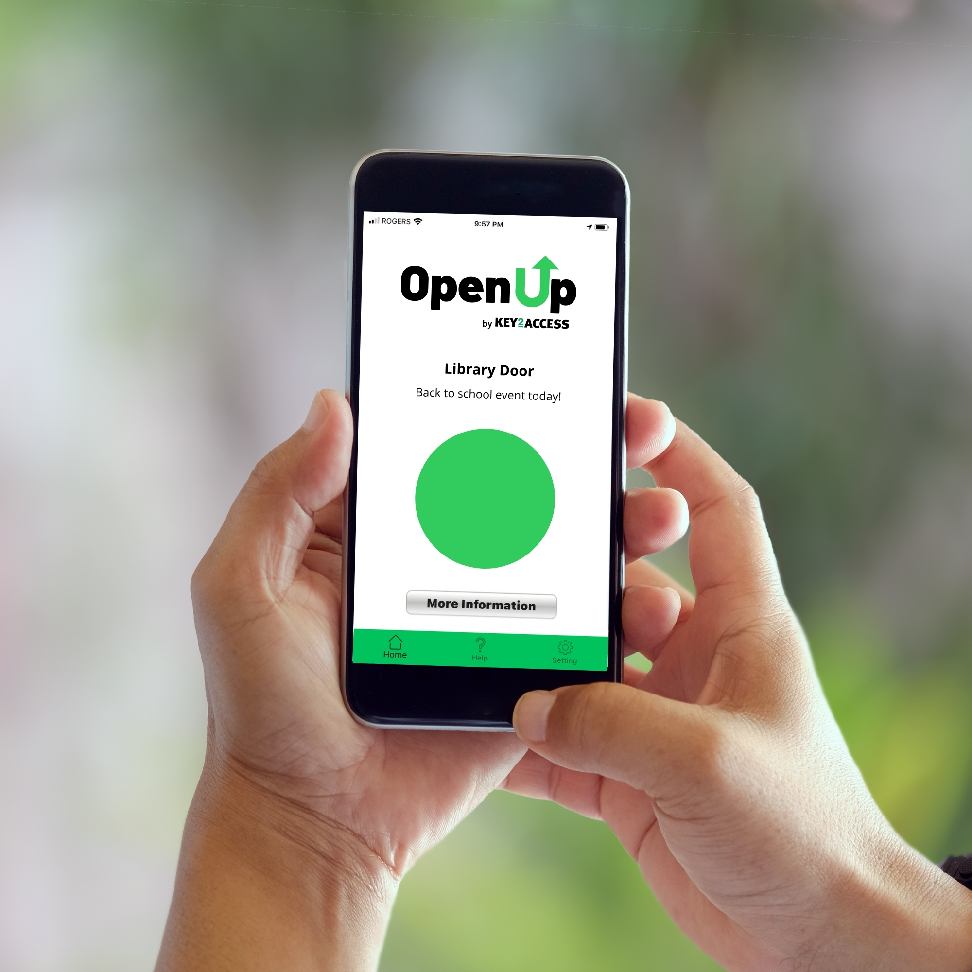 Hands holding smart phone with OpenUp app on the screen